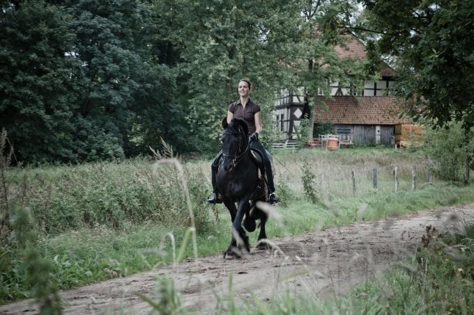 Reiterin auf einem schwarzen Pferd.