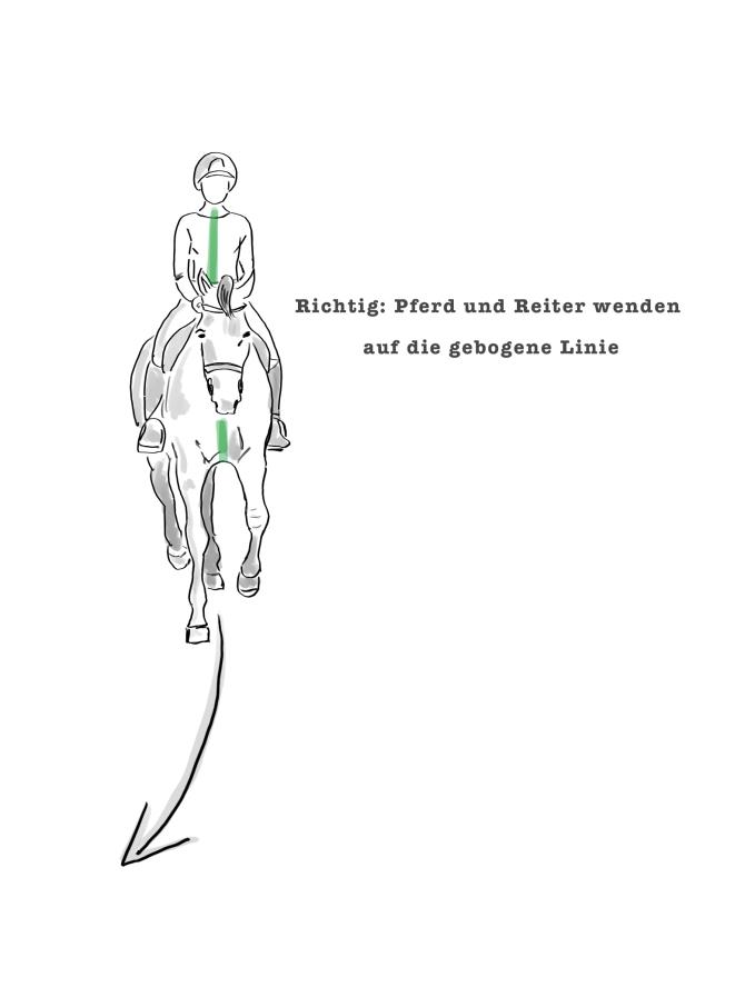 Zeichnung Pferd beim korrekten Reiten von Wendungen und gebogenen Linien