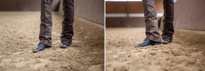 Übe as Reiten von Seitengängen zu Fuß, um die Bewegung deines Pferdes zu verinnerlichen.