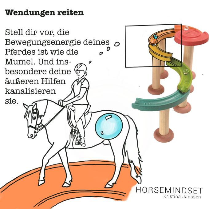So bekommst du dein Pferd beim Reiten von Wendungen vor die Reiterhilfen.